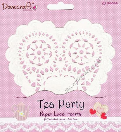 Tea Party 30 Heart Paper Lace Doilies by Dovecraft